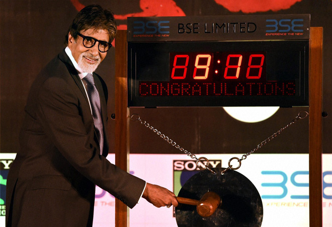 Amitabh Bachchan rings bell at Bombay Stock Exchange