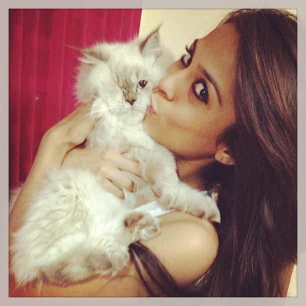 Sana Saeed with a pet