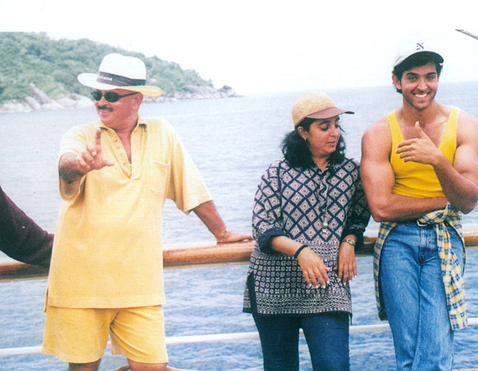 Hrithik Roshan on the sets of Kaho Na Pyaar Hai