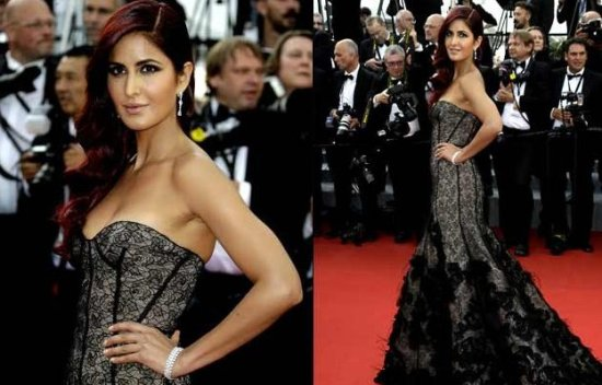 Pictures : Katrina Kaif stuns in black for Cannes Red Carpet debut