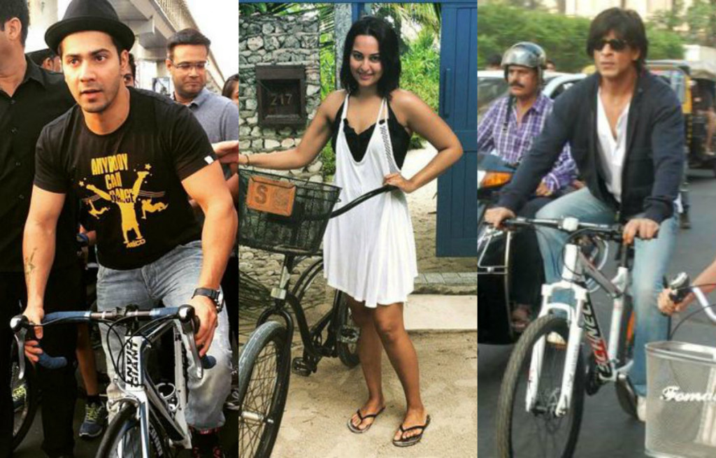 Rare and unseen photographs of celebrities riding bicycle