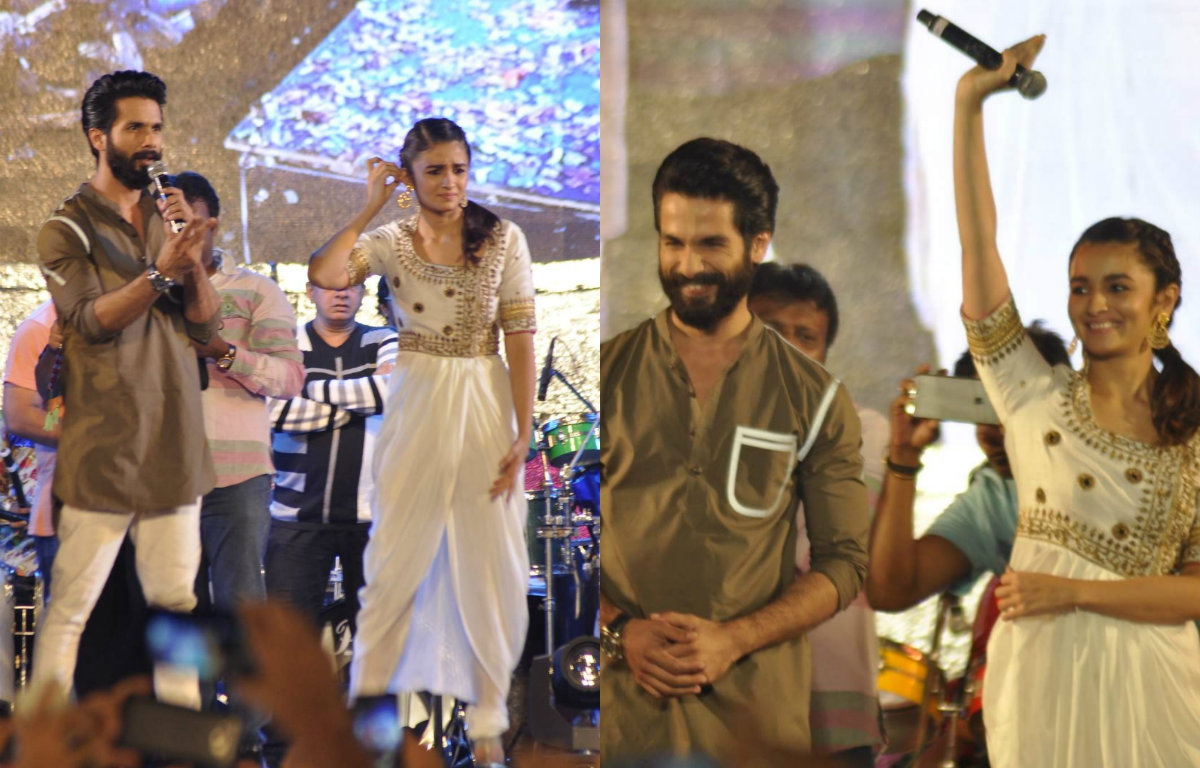 Shahid Kapoor and Alia Bhatt at the Falguni Pathak's Shaandaar dandiya