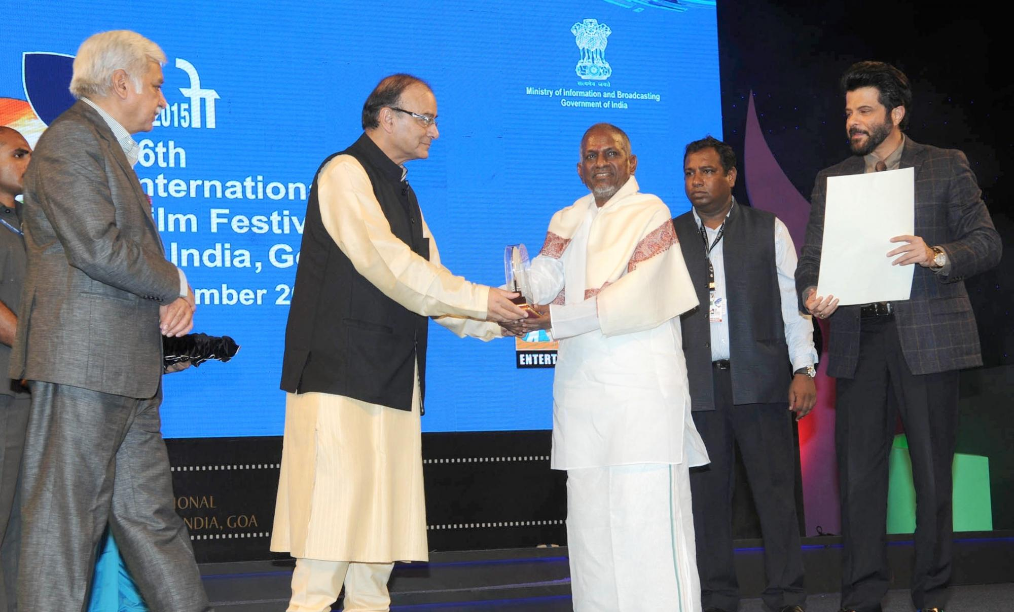 Union Minister for Finance, Corporate Affairs and Information & Broadcasting, Arun Jaitley  , Music Maestro Ilayaraja, Chief Guest actor Anil Kapoor and the Secretary, Ministry of Information and Broadcasting, Sunil Arora.