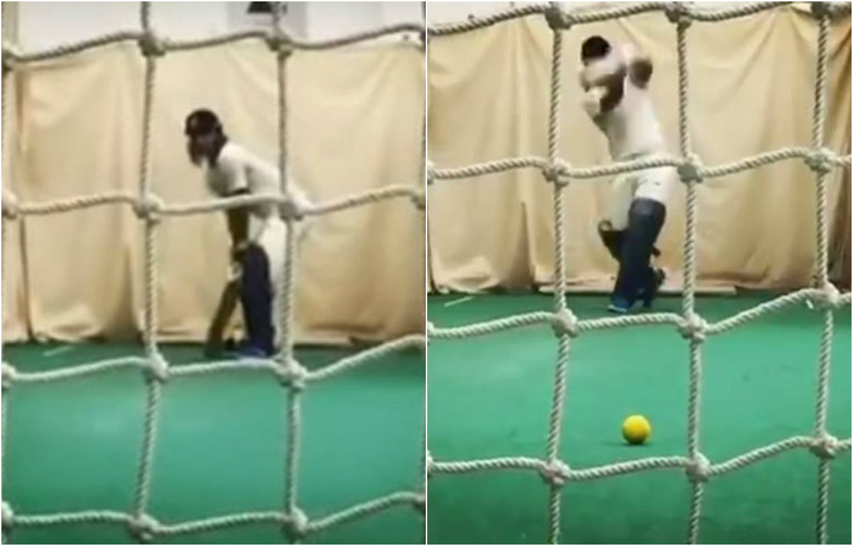 Watch - Sushant Singh Rajput hits Dhoni's famous helicopter shot