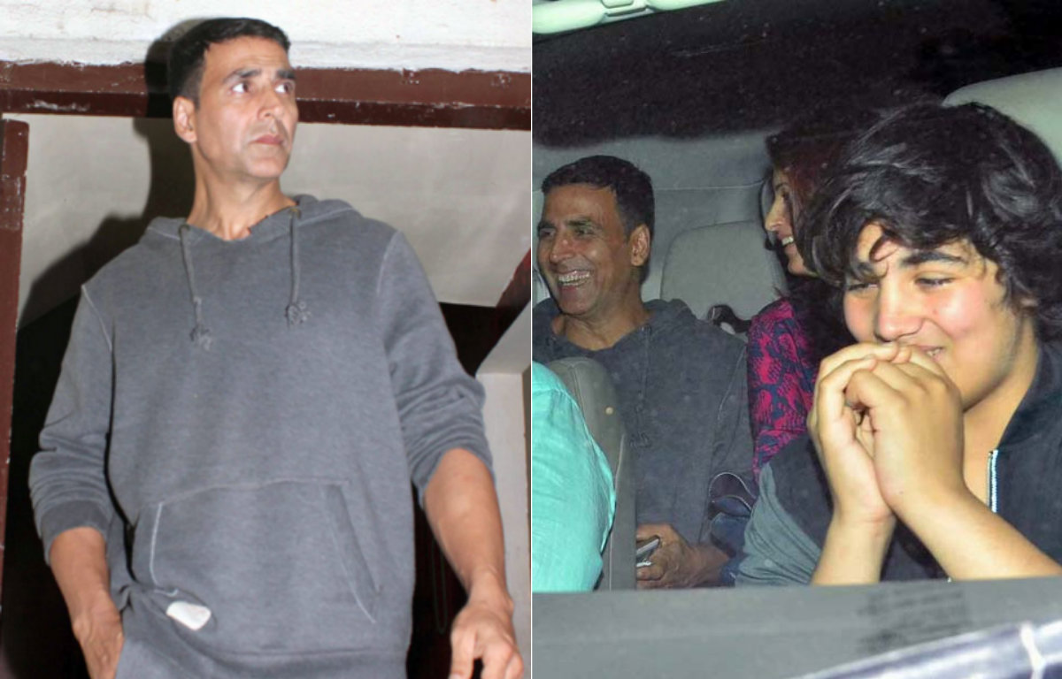 In Pictures - Candid moments of Akshay Kumar with his family on a movie date