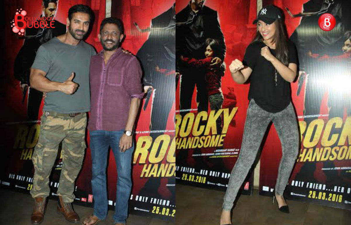 In Pictures: John Abraham and Sonakshi Sinha attend the special screening of 'Rocky Handsome'