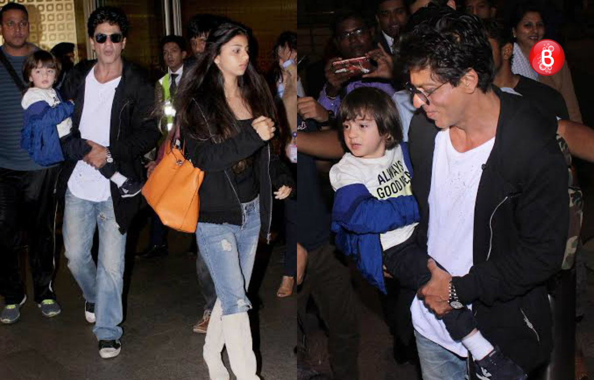 Snapped: Birthday boy AbRam with dad Shah Rukh Khan at airport after celebrations in aircraft!