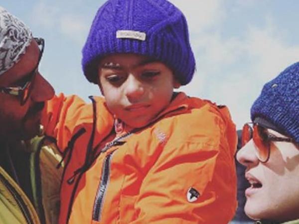 Ajay Devgn shares an adorable picture with son Yug and wife Kajol