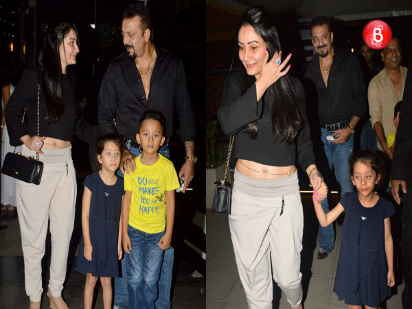 SNAPPED: Sanjay Dutt with his family post their dinner outing at Yauatcha