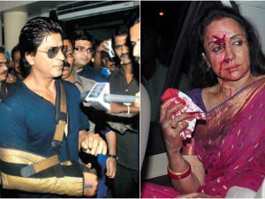 Shah Rukh Khan and Hema Malini