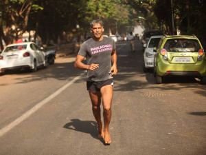 Milind Soman running from Ahmedabad to Mumbai and that too barefoot!