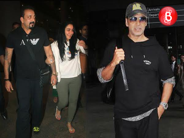 PICS: Sanjay Dutt and Akshay Kumar spotted with their kids at Mumbai airport