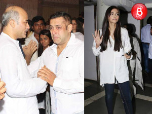 Salman Khan and Sonam Kapoor attends Rajjat Barjatya's prayer meet