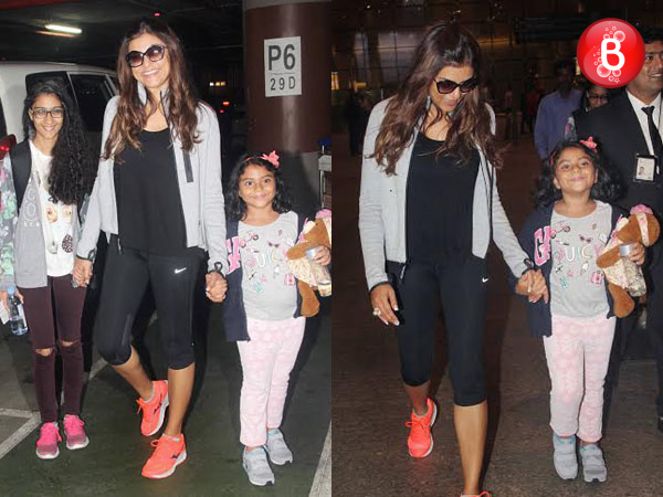 PICS: Sushmita Sen returns from her trip with daughters Renee and Alisah