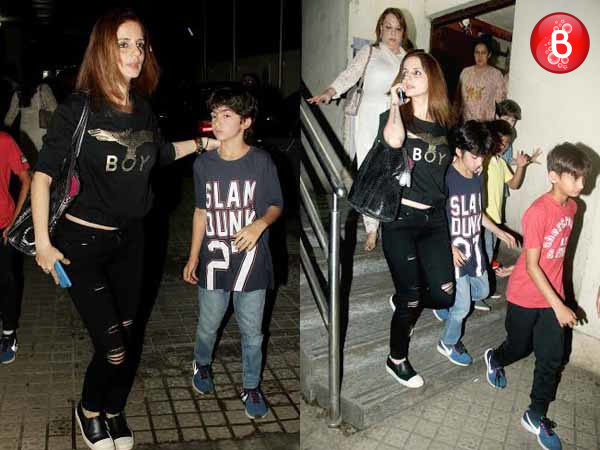PICS: Sussanne Khan snapped with kids and parents on a movie date