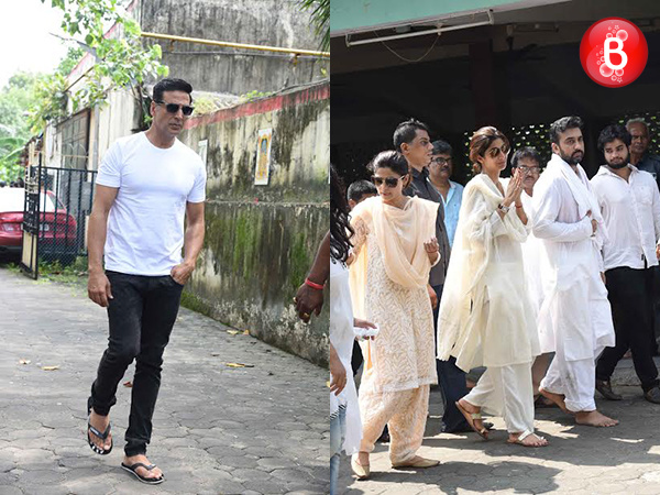 Akshay Kumar and other B-Town celebs attend Shilpa Shetty Kundra's father's funeral