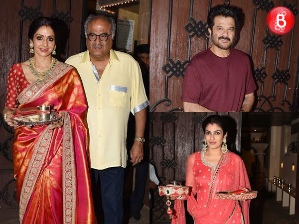 Sridevi, Raveena Tandon and others attend Karwa Chauth celebrations at Anil Kapoor's residence