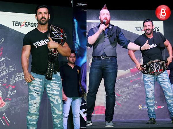 John Abraham takes up WWE champion Sheamus's challenge during 'Force 2' promotions