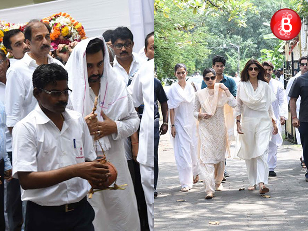 PICS: Raj Kundra performs the last rites of Shilpa Shetty Kundra's father Surendra Shetty