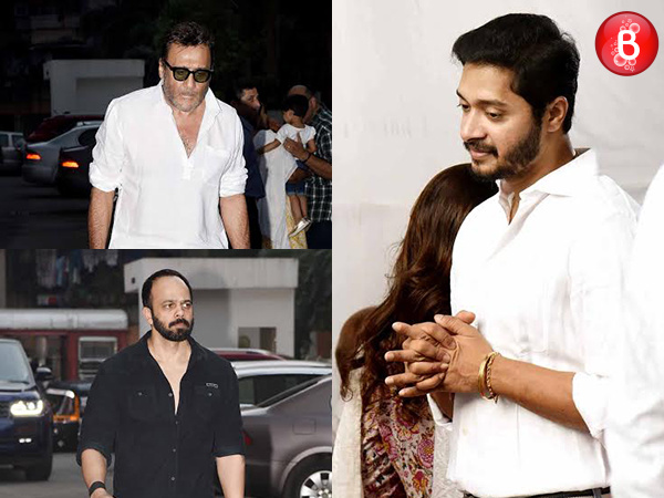 Jackie Shroff, Rohit Shetty and other B-Town celebs at Shreyas Talpade's father's Chautha