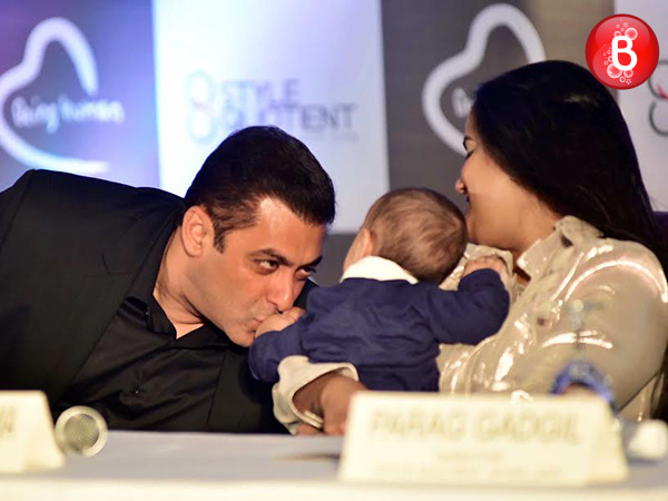Aww! baby Ahil joins mamu Salman Khan at the Being Human Jewellery launch