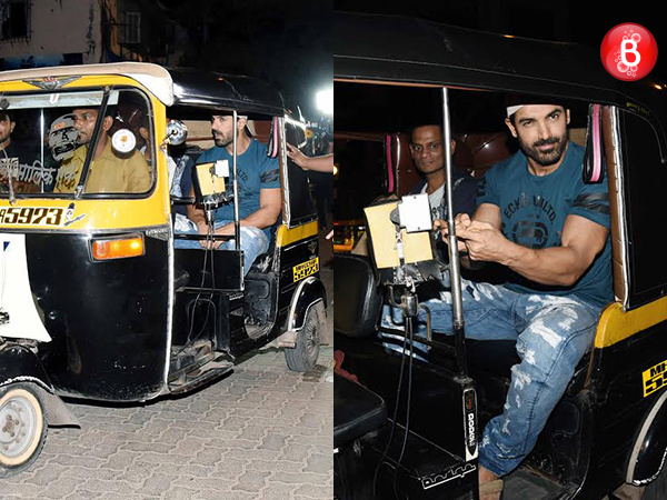 John Abraham takes an auto ride to Gaiety Galaxy to watch 'Force 2' with parents. VIEW PICS