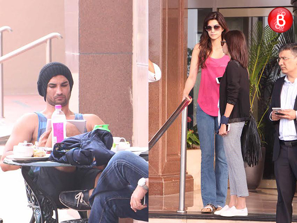 Sushant Singh Rajput and Kriti Sanon are snapped at Hotel Taj Lands End