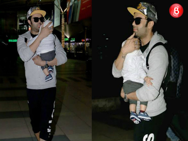 Manish Paul spotted with his baby boy Yuvann at the airport. VIEW PICS