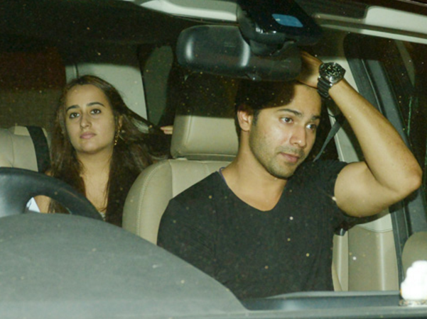 SPOTTED: Varun Dhawan and his girlfriend in colour coordinated clothes at a wedding!