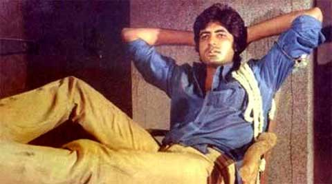 Amitabh Bachchan in blue shirt Deewar