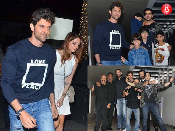 Sussanne Khan, Hrehaan, Hridhaan Roshan and 'Kaabil' team at Hrithik Roshan's birthday party