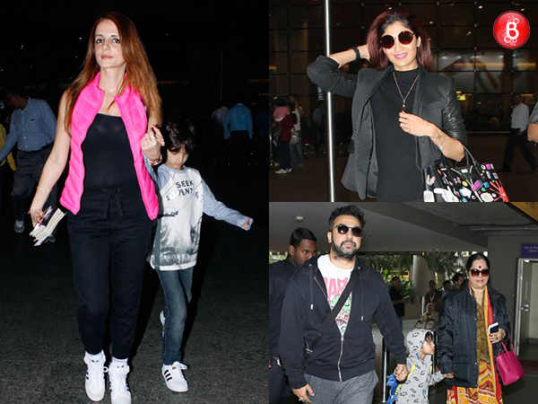 Back home! Sussanne Khan and Shilpa Shetty Kundra snapped at airport returning with family