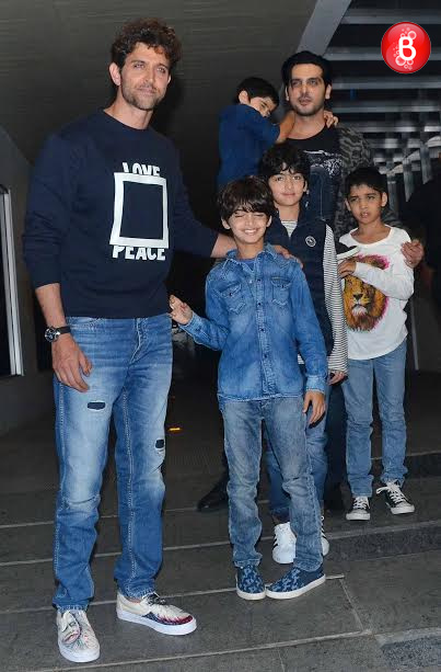 Hrithik Roshan and Zayed Khan with their kids