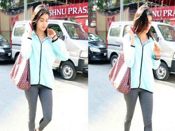 Sridevi's daughter Jhanvi Kapoor looked chic in gym attire