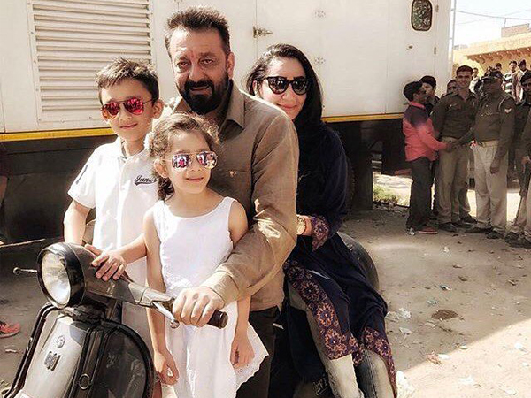 So cute! Sanjay Dutt takes his wife and kids on a scooter ride