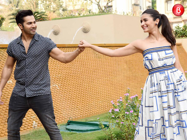 Varun Dhawan and Alia Bhatt promote 'Badrinath Ki Dulhania' in colour coordinated outfits