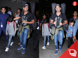 Hrithik Roshan snapped returning from Maldives with kids Hrehaan and Hridhaan Roshan