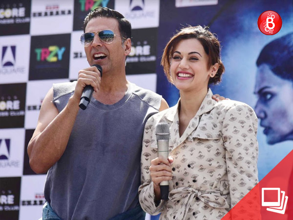 Pics: 'Naam Shabana' actors Akshay Kumar, Taapsee Pannu promote movie at a college