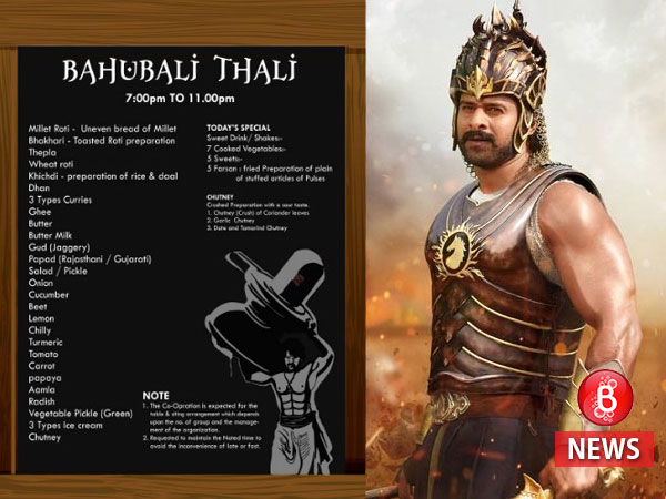 Superb! A hotel pays tribute to 'Baahubali' by naming a special thali after the film