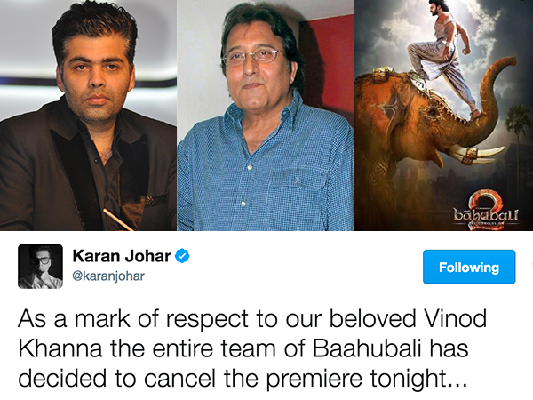 'Baahubali 2' premiere cancelled as legendary Vinod Khanna passes away
