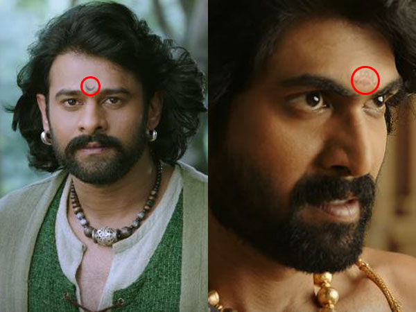 Different symbols on the foreheads of Baahubali and Bhallala Deva