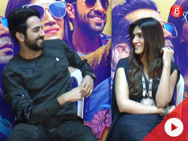 WATCH: Ayushmann and Kriti have fun as they give taglines for sweets