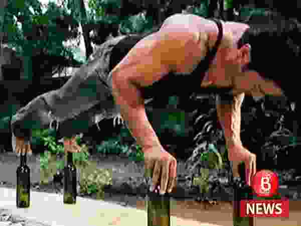 Is that Vidyut Jammwal doing push-ups on glass bottles?