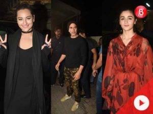 Watch: Akshay Kumar, Alia Bhatt and Sonakshi Sinha catch a screening of 'Judwaa 2'
