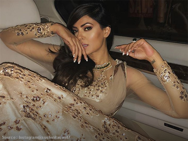 #OOTD: Sushmita Sen looks delicately HOT in her golden princess gown!