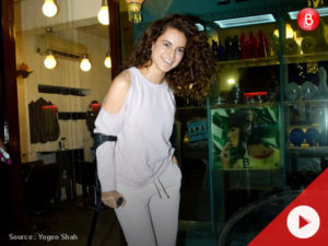 Watch: Kangana Ranaut spotted with injured leg post salon visit