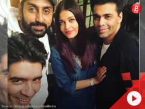 Aishwarya, Abhishek Bachchan and Karan Johar spotted at Manish Malhotra's house.