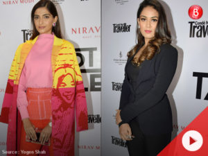 Sonam Kapoor and Mira Rajput at red carpet of Condé Nast Traveller India event