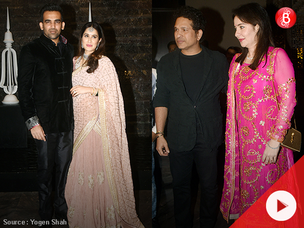 WATCH: Sachin and other celebs attend Zaheer and Sagarika's wedding reception