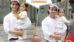 Papped: Aayush Sharma twins in white with son Ahil. View Pics!